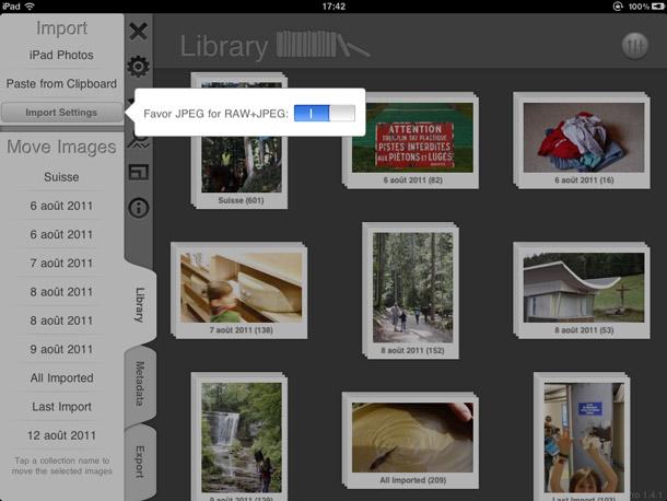 Interface de Filterstrom Pro, l'option pour importer les JPEG des fichiers RAW+JPEG